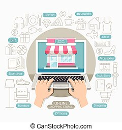 Shopping online business conceptual flat style