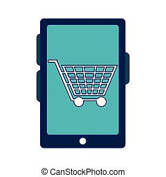 shopping online cart on smartphone screen