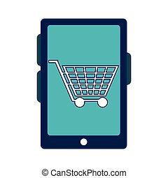 shopping online cart on smartphone screen