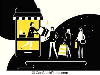 Shopping online concept - flat design style illustration....