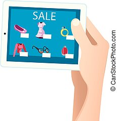 Shopping online concept. Tablet in hands