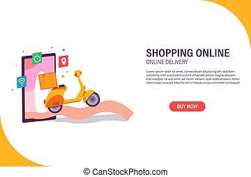 shopping online, delivery online web banner. premium vector