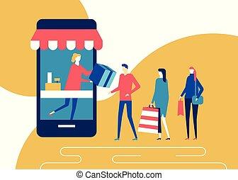 Shopping online - flat design style colorful illustration....