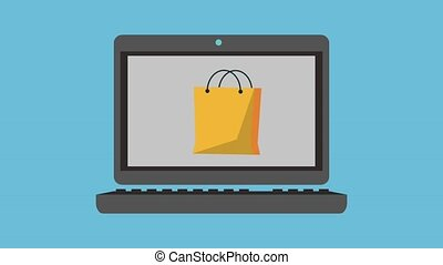 Shopping online from laptop HD animation