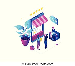 Shopping online - modern colorful isometric vector...