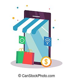 shopping online on mobile. premium vector