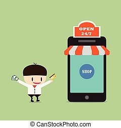 Shopping online, Online Store on smart phone. Business and Digital Marketing Concept