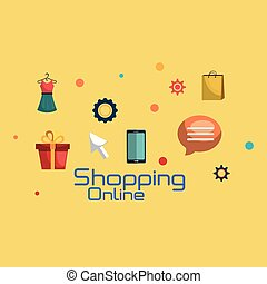 shopping online set icons