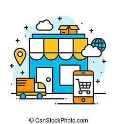 shopping online store global shipping business internet commercial
