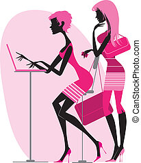 Shopping online - Vector illustration of two women using a...