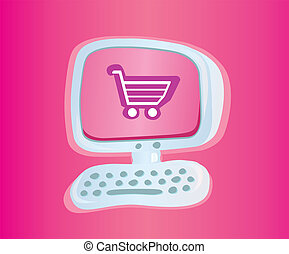 Shopping online VECTOR ICON - Stylish computer with shopping...