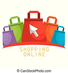 shopping online with bags vector illustration design