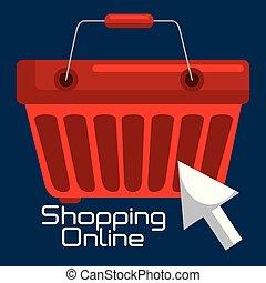 shopping online with basket vector illustration design