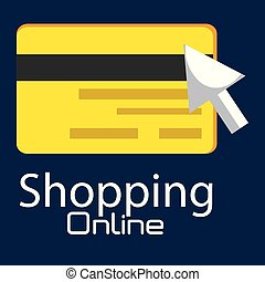 shopping online with credit card vector illustration design
