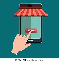 shopping online with smartphone vector illustration design