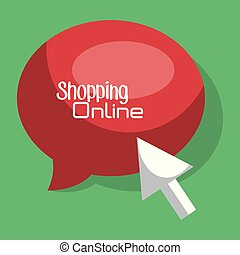 shopping online with speech bubble vector illustration...