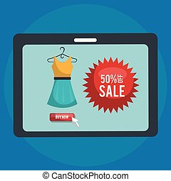 shopping online with tablet vector illustration design