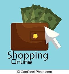 shopping online with wallet and bills vector illustration...