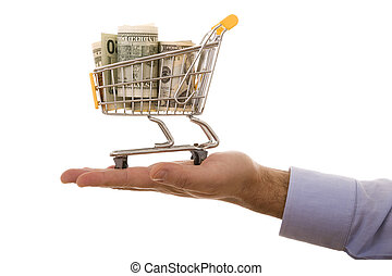 Shopping opportunities - hand holding a shopping cart full...