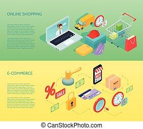 shopping, orizzontale, bandiera, isometrico, ecommerce