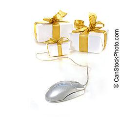 shopping, oro, computer, linea, ribboned, topo, regali