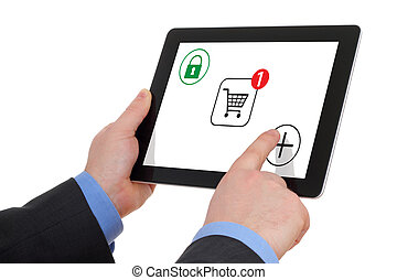 Shopping over the Internet, on your tablet pc.