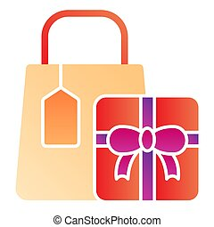 Shopping package flat icon. Shopping gifts color icons in trendy flat style. Presents gradient style design, designed for web and app. Eps 10.