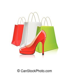 Shopping packages and woman shoes isolated vector