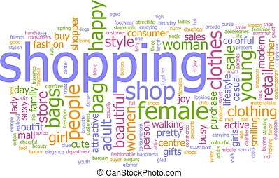 shopping, palavra, nuvem