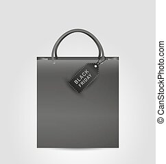 shopping paper bag and black friday