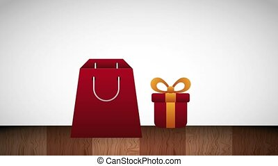 shopping paper bag and gift box commerce
