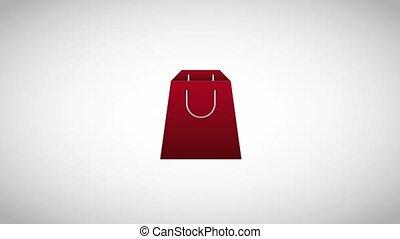 shopping paper bag basket and gift box ecommerce digital symbol