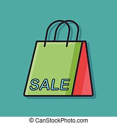 shopping paper bag color line icon