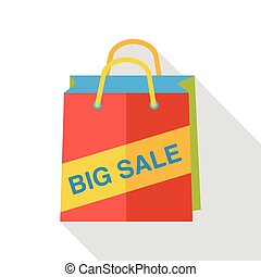 shopping paper bag flat icon