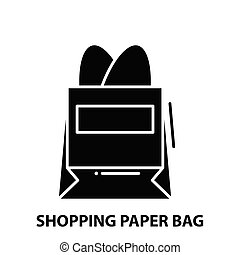 shopping paper bag icon, black vector sign with editable strokes, concept illustration