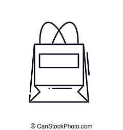 Shopping paper bag icon, linear isolated illustration, thin line vector, web design sign, outline concept symbol with editable stroke on white background.