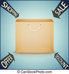 shopping paper bag on blue background
