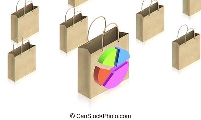 Shopping paper bag with chart - part of isometric...