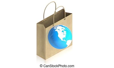 Shopping paper bag with earth