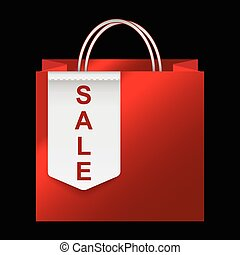 Shopping paper bag with sale tag icon