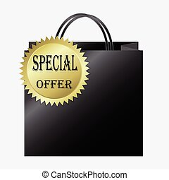 Shopping paper bag with special offer label