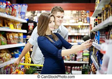 shopping, par, mantimentos, jovem