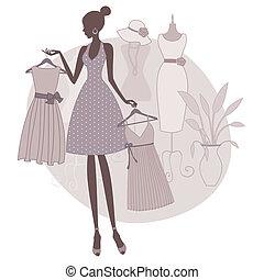shopping, para, um, vestido