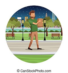 shopping, parco, passeggiata, borsa, notte, vista, uomo