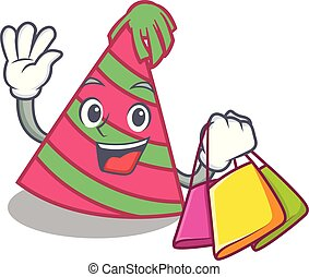 Shopping party hat character cartoon vector illustration