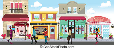 Shopping people - A vector illustration of people shopping ...