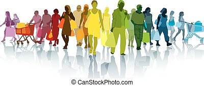 Shopping people - Colorful crowd of shopping people. Happy ...