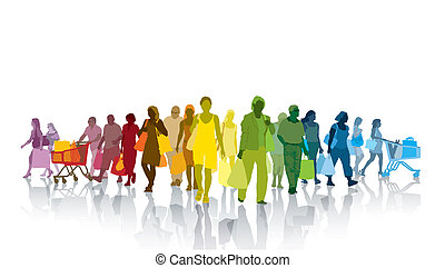 Shopping people - Colorful crowd of shopping people. Happy...