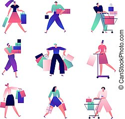 Shopping people. Man and woman with shopping bags and carts make lots of purchases in store. Buyers isolated cartoon vector characters