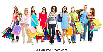 Shopping people - Happy shopping shopping. Isolated over...